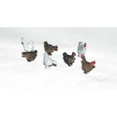 L48 6 Assorted Chickens & Cockerel Unpainted Kit O Scale 1:43