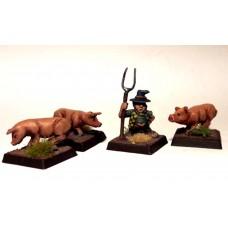 LMF15 Borderlands Farmer Pigs Unpainted 28mm Scale
