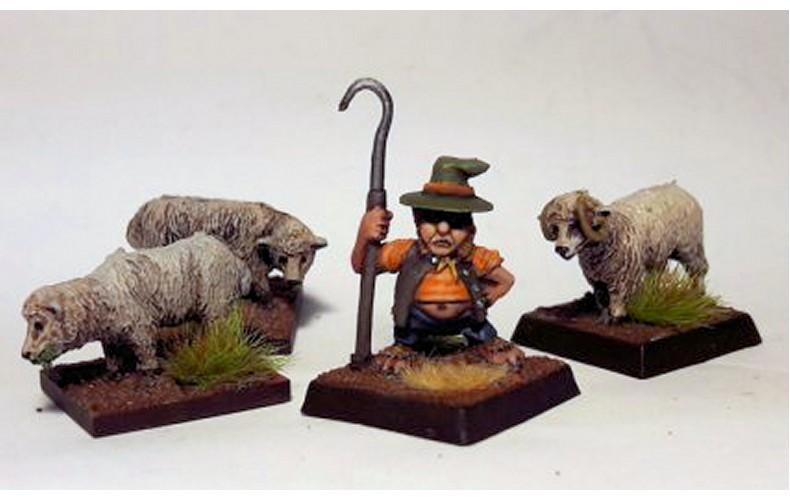 LMF17 Borderlands Shepherd 3 Sheep Unpainted 28mm Scale
