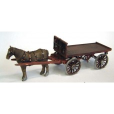M23 Horse Drawn Railway Fladbed Wagon Unpainted Kit O Scale 1:43