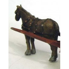 M5 Horse with swingle tree & harness Unpainted Kit O Scale 1:43