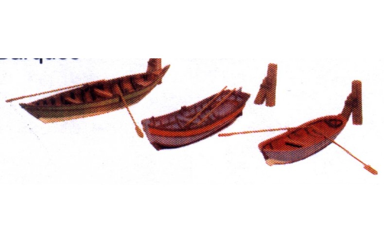 MB2 Rowing Boats & Mooring Post Unpainted Kit OO Scale 1:76