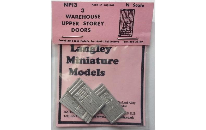 NP13 3 Warehouse upper storey doors Unpainted Kit N Scale 1:148