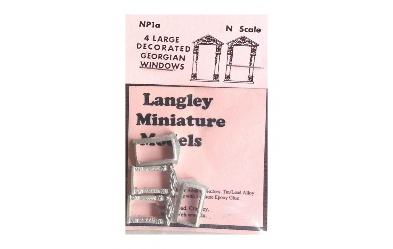 NP1a 4 large decorated Georgian Windows Unpainted Kit N Scale 1:148