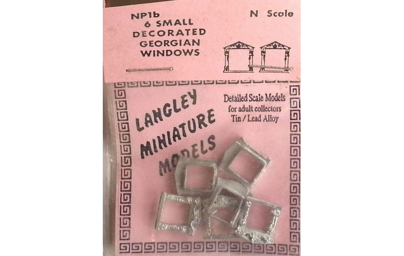 NP1b 6 small decorated Georgian Windows Unpainted Kit N Scale 1:148
