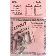 NP1c 4 large plain Georgian Windows Unpainted Kit N Scale 1:148