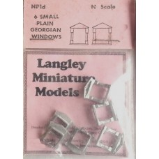 NP1d 6 small plain Georgian Windows Unpainted Kit N Scale 1:148
