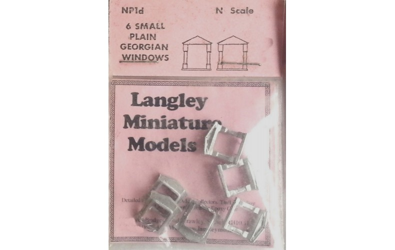 NP1d 6 small plain Georgian Windows Unpainted Kit N Scale 1:148