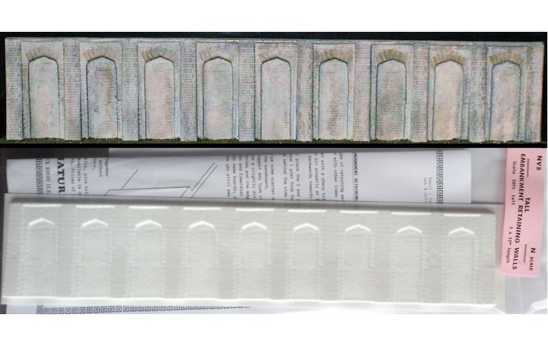"NV5 Tall retaining wall (1 x 12"") Unpainted Kit N Scale 1:148"