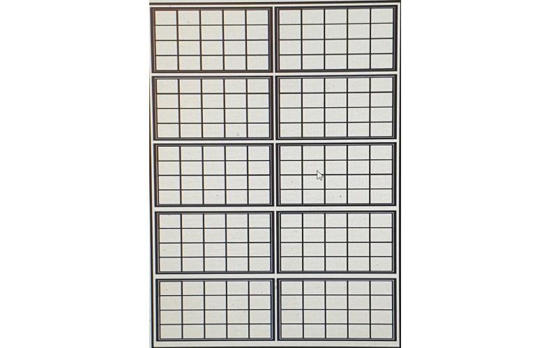 OC15a 20 pane Window Glazing Bars Large  Black (O scale 1/43rd)