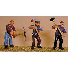 OF11 Workmen & tools(axe,sledgehammer,pick) Unpainted Kit O Scale 1:43