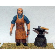 OF12 Blacksmith with Anvil & sundry tools  Unpainted Kit O Scale 1:43