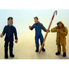 OF20 3 Trawlermen Figures (fishing boat) Unpainted Kit O Scale 1:43