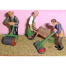 OF5 Gardeners, Lawnmower/Barrow/lawnroller Unpainted Kit O Scale 1:43