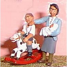 OF6 Mum/Baby & Child on Rocking Horse Unpainted Kit O Scale 1:43