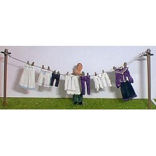 OF7a Washing line, clothes & figure Victorian Unpainted Kit O Scale 1:43