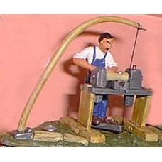 OF8 Pole Lathe & Worker (woodworking) Unpainted Kit O Scale 1:43