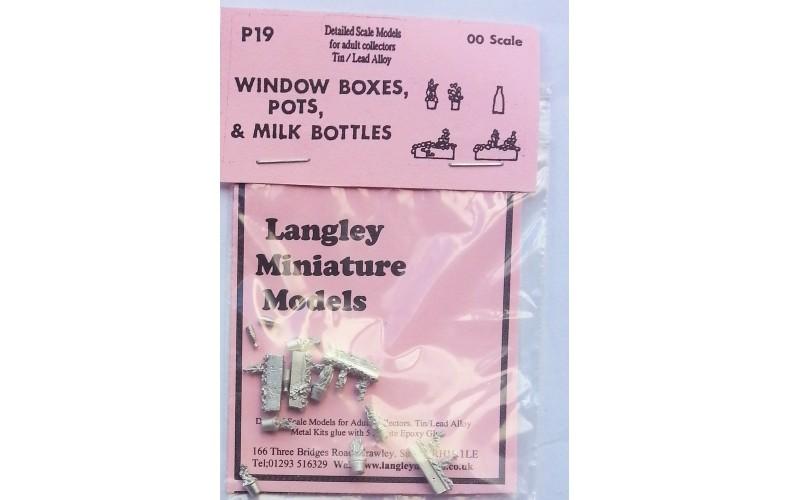 P19 Window boxes,plant pots,milk bottles Unpainted Kit OO Scale 1:76