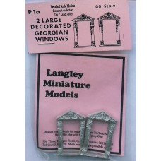 P1a 2 large decorated Georgian windows Unpainted Kit OO Scale 1:76
