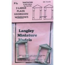 P1c 2 large Plain Georgian windows Unpainted Kit OO Scale 1:76