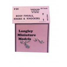 P20 3 roof Finials, 6 door knobs & knockers Unpainted Kit OO Scale 1:76