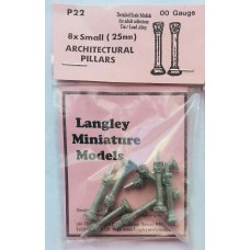 P22 8 Decorated Columns 25mm long Unpainted Kit OO Scale 1:76