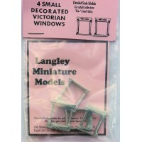 P2b 4 small decorated Victorian windows Unpainted Kit OO Scale 1:76