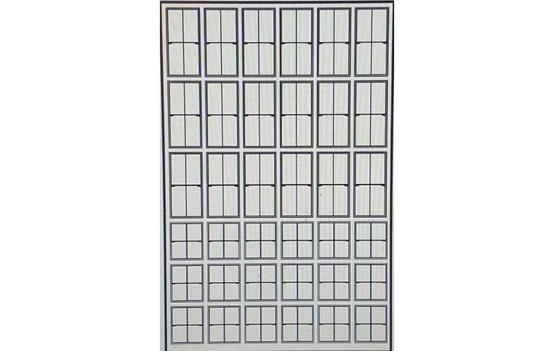 P53a 4 panel Sash Glazing Bars Black (OO scale 1/76th)