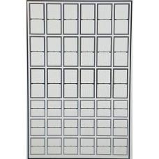 P54b 2 panel Sash Window Glazing Bars White (OO scale 1/76th)