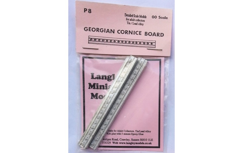 P8 2 Georgian Cornice boards Unpainted Kit OO Scale 1:76