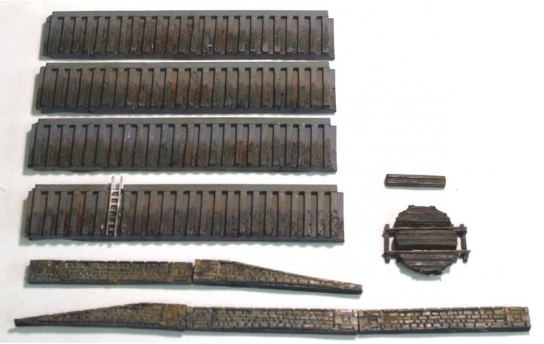 NMB18 Steel Harbour Walls & Pedestrian Ramps (512mm) Unpainted Kit N Scale 1:148