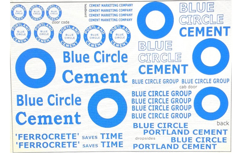 T24 Blue Circle Lorry Decals (OO scale 1/76th)