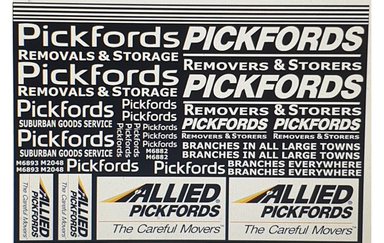 50T9new Pickfords (white) Decals (O scale 1/50th)