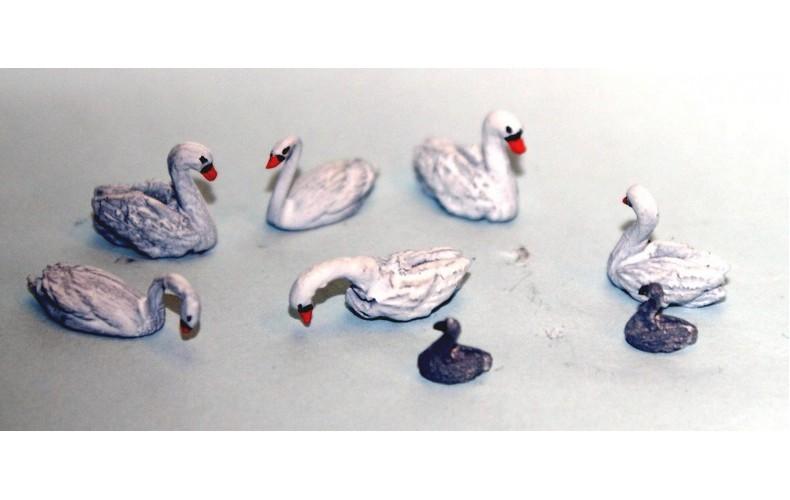 TT12 6 Swans 2 cygnets 3mm  UNPAINTED TT Scale