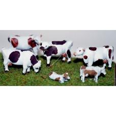 TT7 6 Cows 3mm UNPAINTED TT Scale