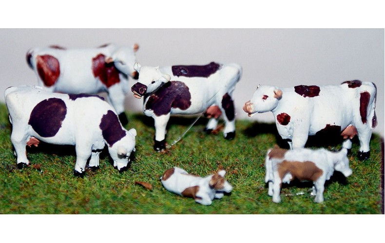 TT7 6 Cows 3mm UNPAINTED TT Scale