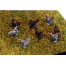 TT9 8 Chickens Cockerels 3mm UNPAINTED TT Scale