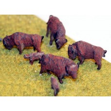 USA1 6 Buffalo's (4 adults 2 calves) Unpainted Kit OO Scale 1:76