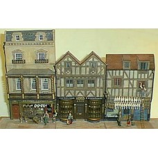 V18set 3 shops 2 timbered 1 Georgian uppers Unpainted Kit OO Scale 1:76