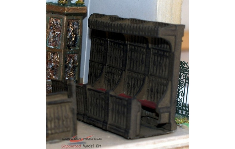 V20c Church Choir Stalls (carved wood units) Unpainted Kit OO Scale 1:76