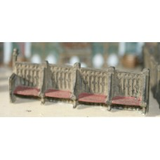 V20d 2 x Church Pews (wooden carved seating) Unpainted Kit OO Scale 1:76