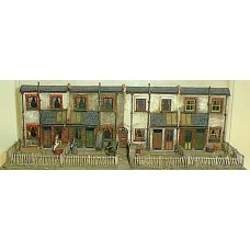 V6set Cottage backs - terrace of 4 Unpainted Kit OO Scale 1:76