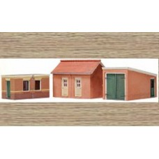10116 2 brick sheds and garage (OO/HO Scale 1/87th)