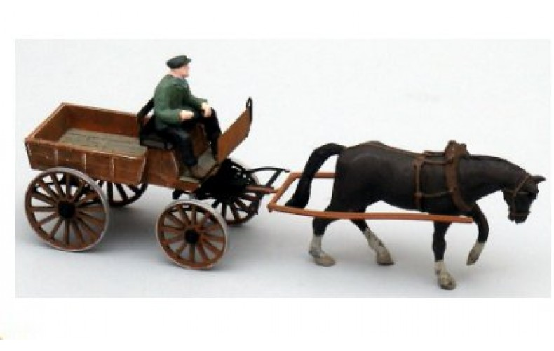 38757 Painted Horse Drawn Open Wagon (OO/HO Scale 1/87th)