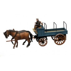 38763 Painted Open Top Horse Drawn Wagon (OO/HO Scale 1/87th)
