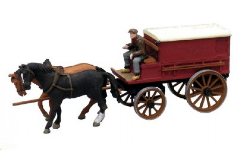 38764 Painted Covered Horse Drawn Wagon (OO/HO Scale 1/87th)
