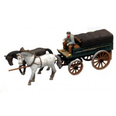 38765 Painted Horse Drawn Wagon with canvas covered back (OO/HO Scale 1/87th)