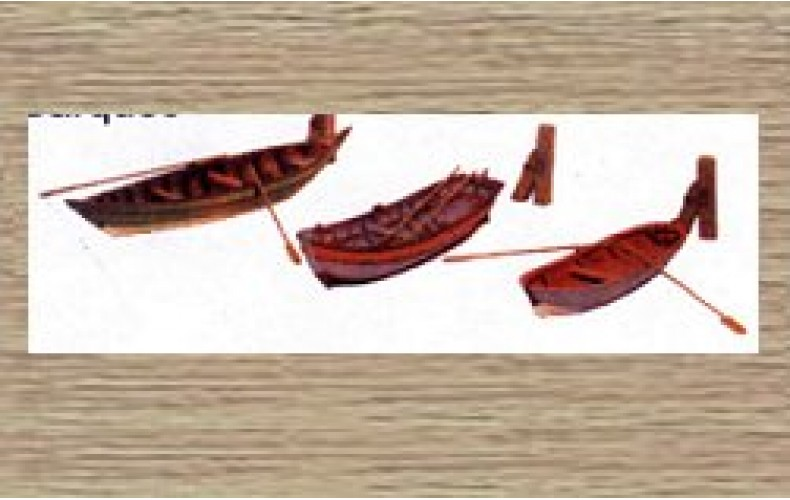 38708 Painted Rowing Boats x 3 (OO/HO Scale 1/87th)