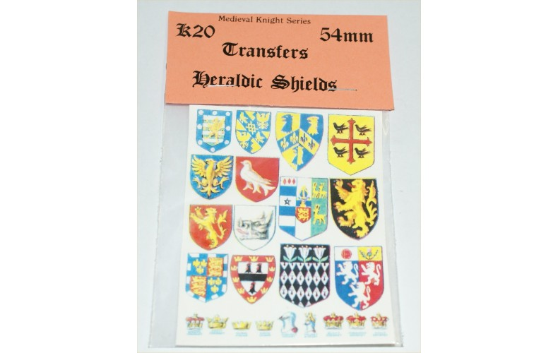 KS20 Waterslide Transfers - Heraldic Shields (54mm scale)
