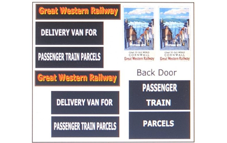 T18G23D2 GWR Waterslide Transfers for G23 Parcel Wagon (OO scale 1/76th)